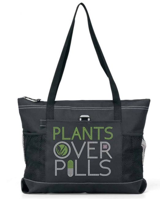 plants over pills bling tote bag