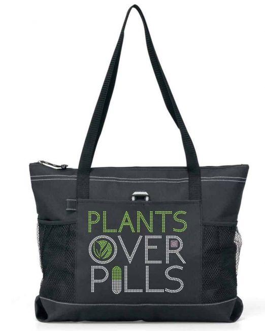 plants over pills bling tote bag